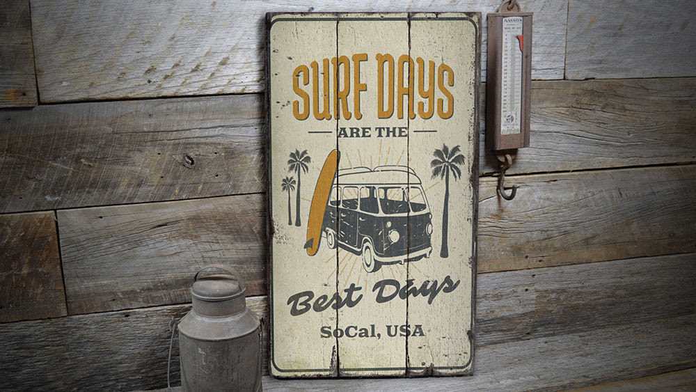 Surf Days Rustic Wood Sign
