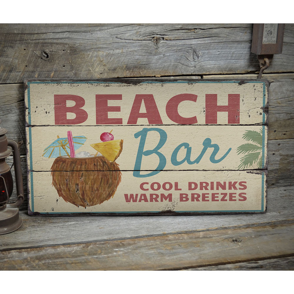 Beach Cocktail Vintage Wood Sign