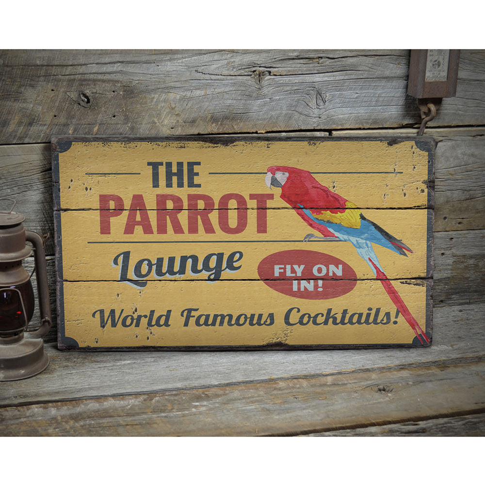 Parrot Lounge Rustic Wood Sign