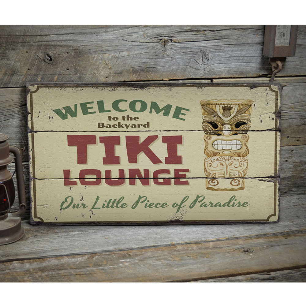 Backyard Tiki Bar Rustic Wood Sign