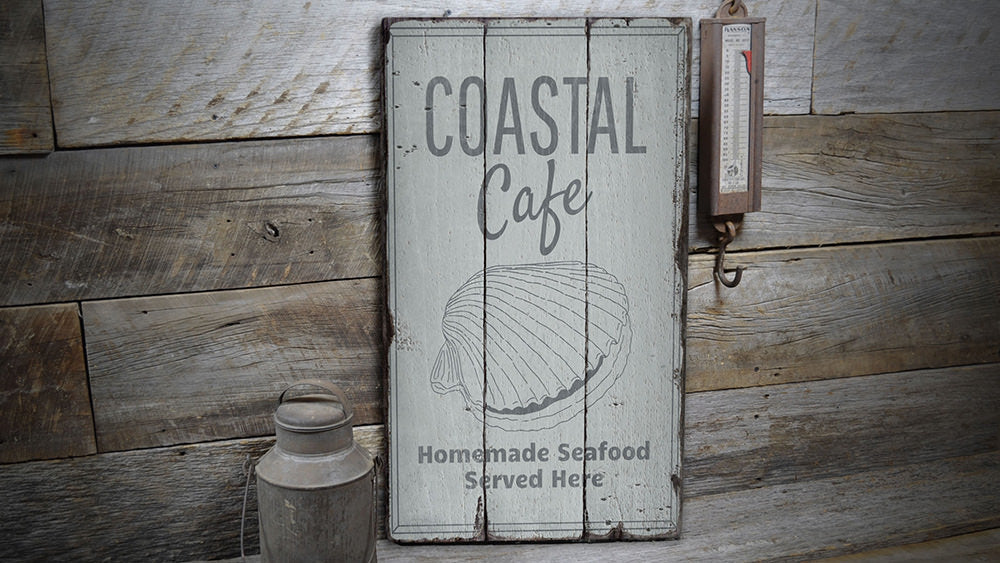 Coastal Cafe Rustic Wood Sign