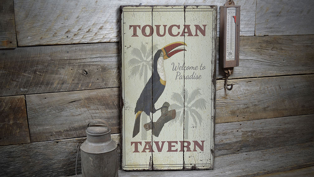 Toucan Tavern Rustic Wood Sign