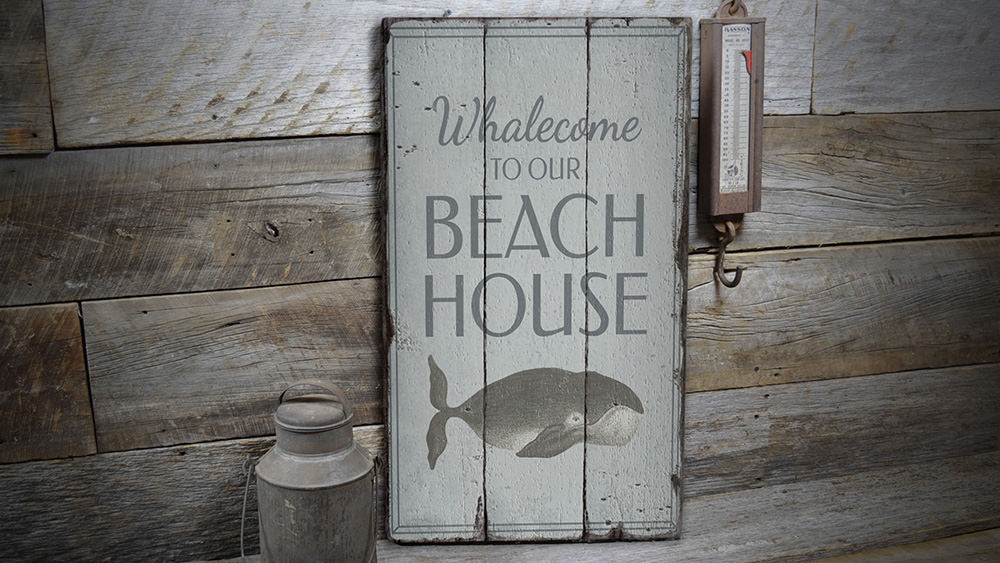 Funny Whale Rustic Wood Sign