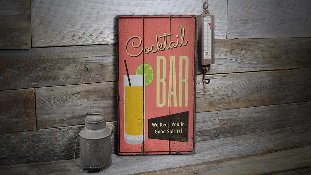 Cocktail Bar Rustic Wood Sign