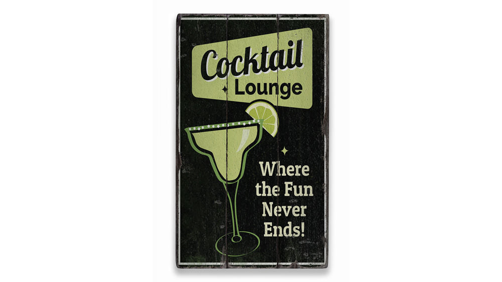 Cocktail Lounge Bar Rustic Wood Sign