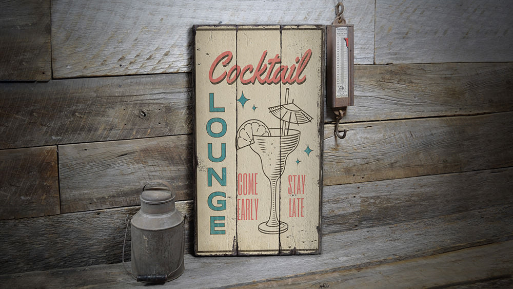 Retro Cocktail Bar Rustic Wood Sign