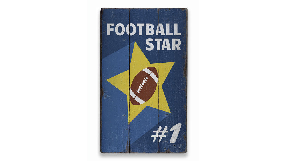 Football Star Number Rustic Wood Sign