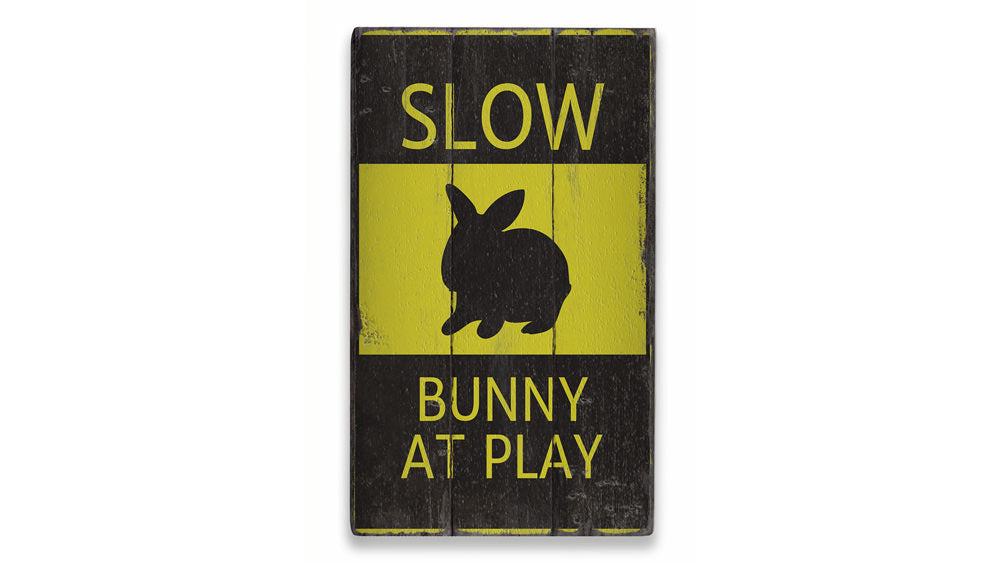 Bunny at Play Rustic Wood Sign