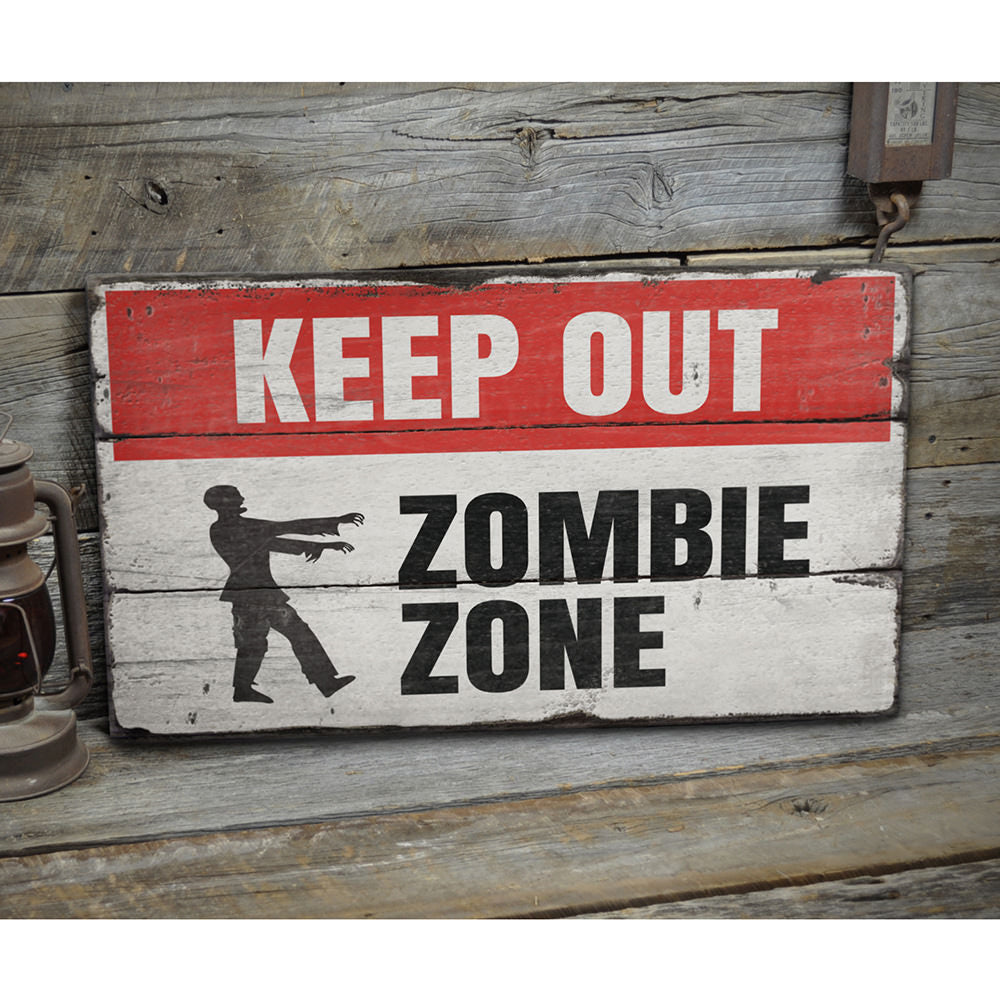 Zombie Zone Keep Out Rustic Wood Sign