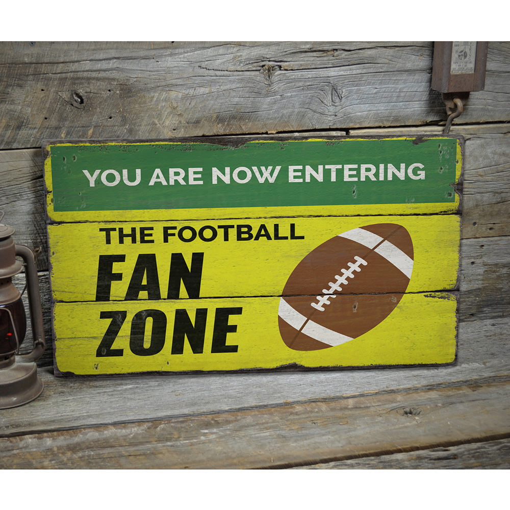 The Football Fan Zone Rustic Wood Sign