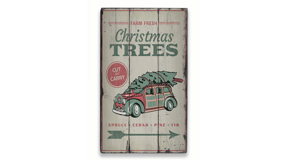 Farm Fresh Christmas Trees Rustic Wood Sign