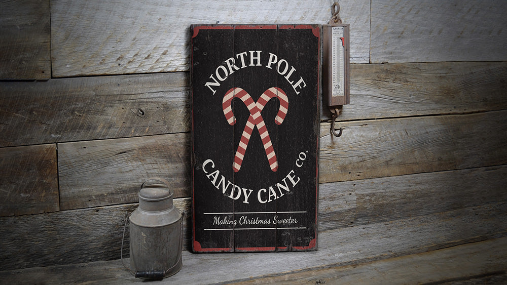 North Pole Candy Cane Company Rustic Wood Sign