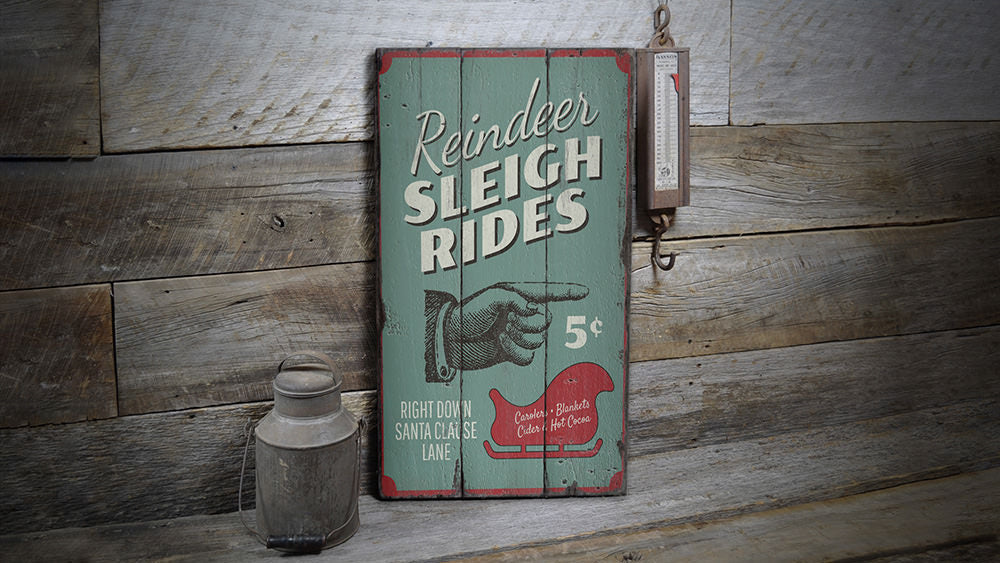 Reindeer Sleigh Rides Rustic Wood Sign