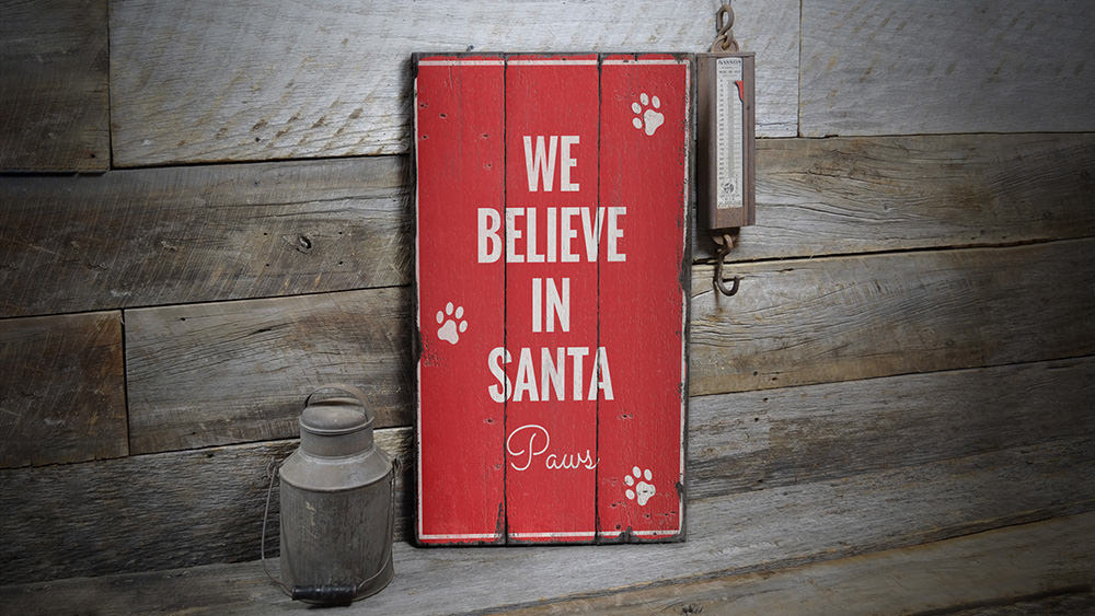 Santa Paws Rustic Wood Sign