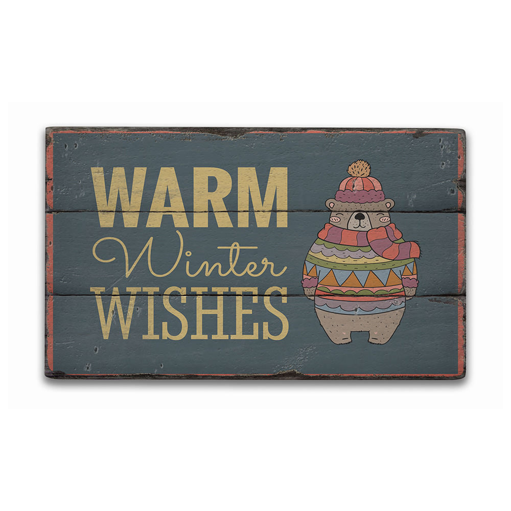 Warm Winter Wishes Rustic Wood Sign