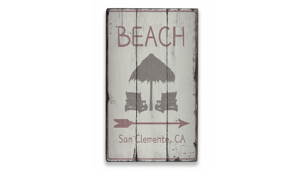 Beach Directional Arrow Rustic Wood Sign
