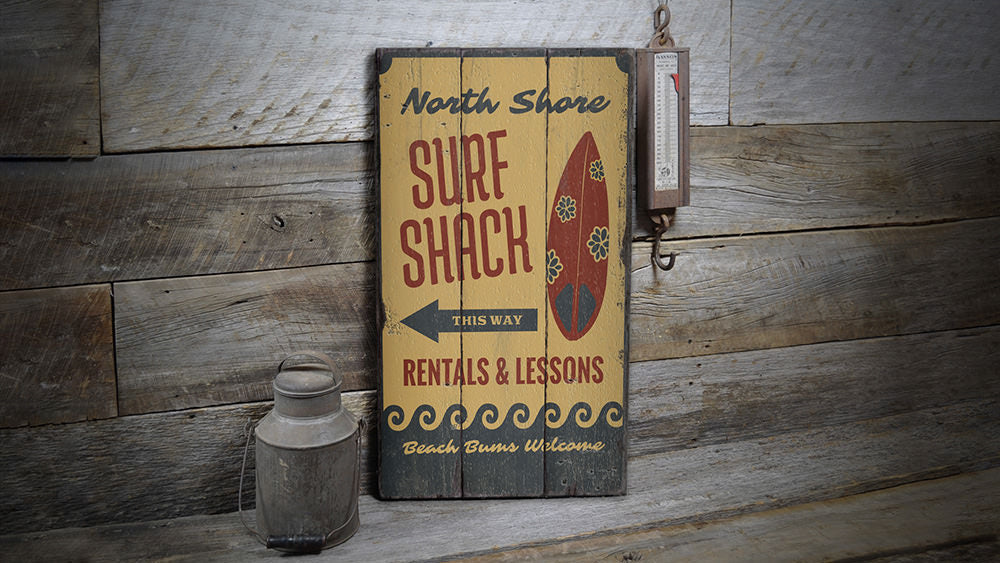 Surf Shack This Way Rustic Wood Sign