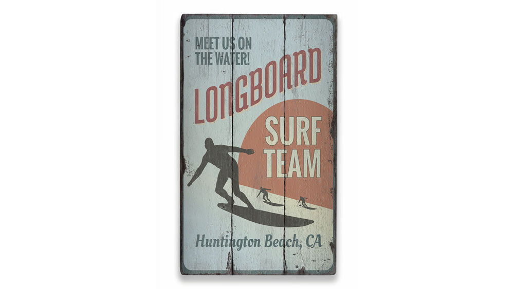 Longboard Surf Team Rustic Wood Sign