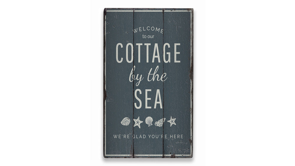 Cottage by the Sea Rustic Wood Sign