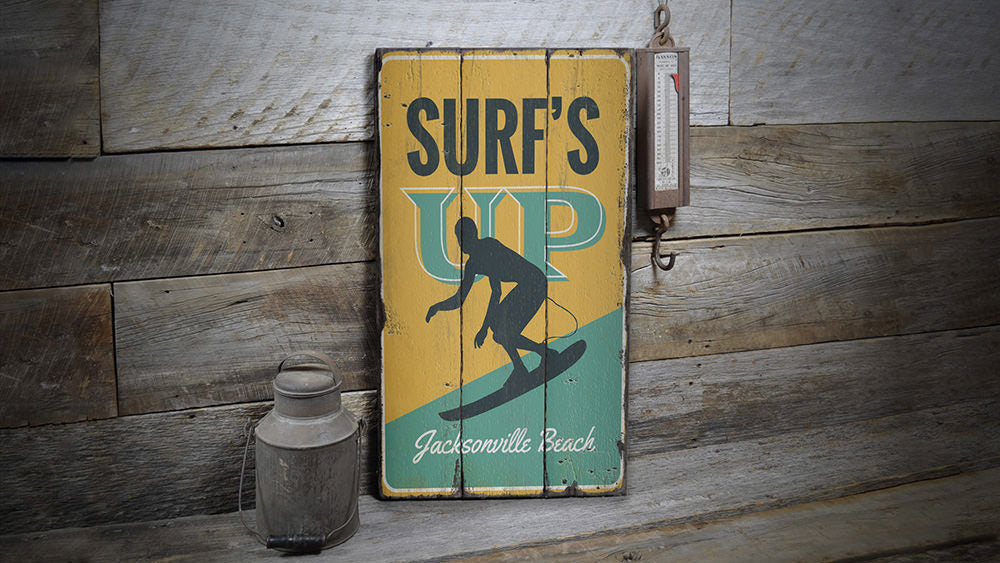 Surfs Up Rustic Wood Sign