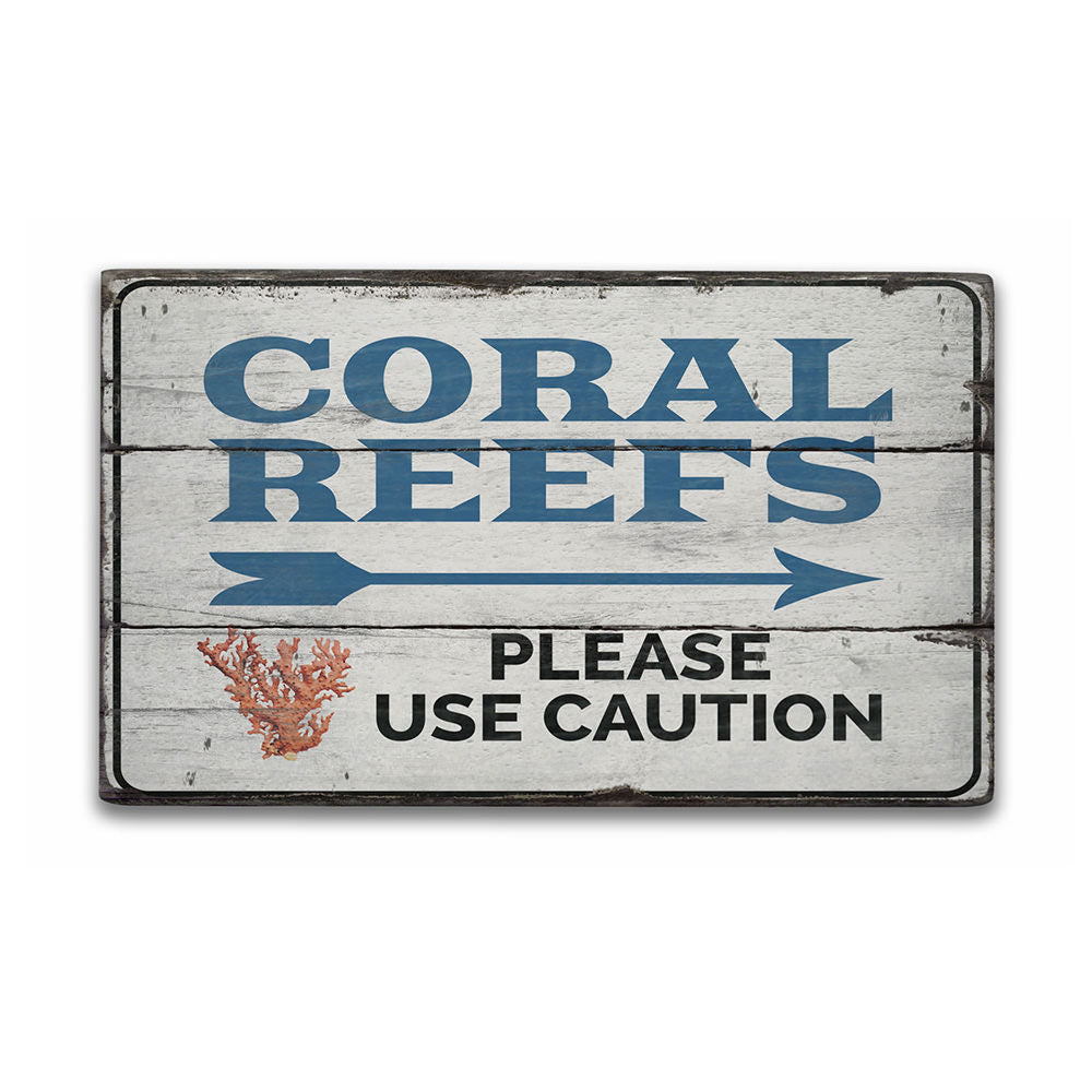 Coral Reefs Rustic Wood Sign