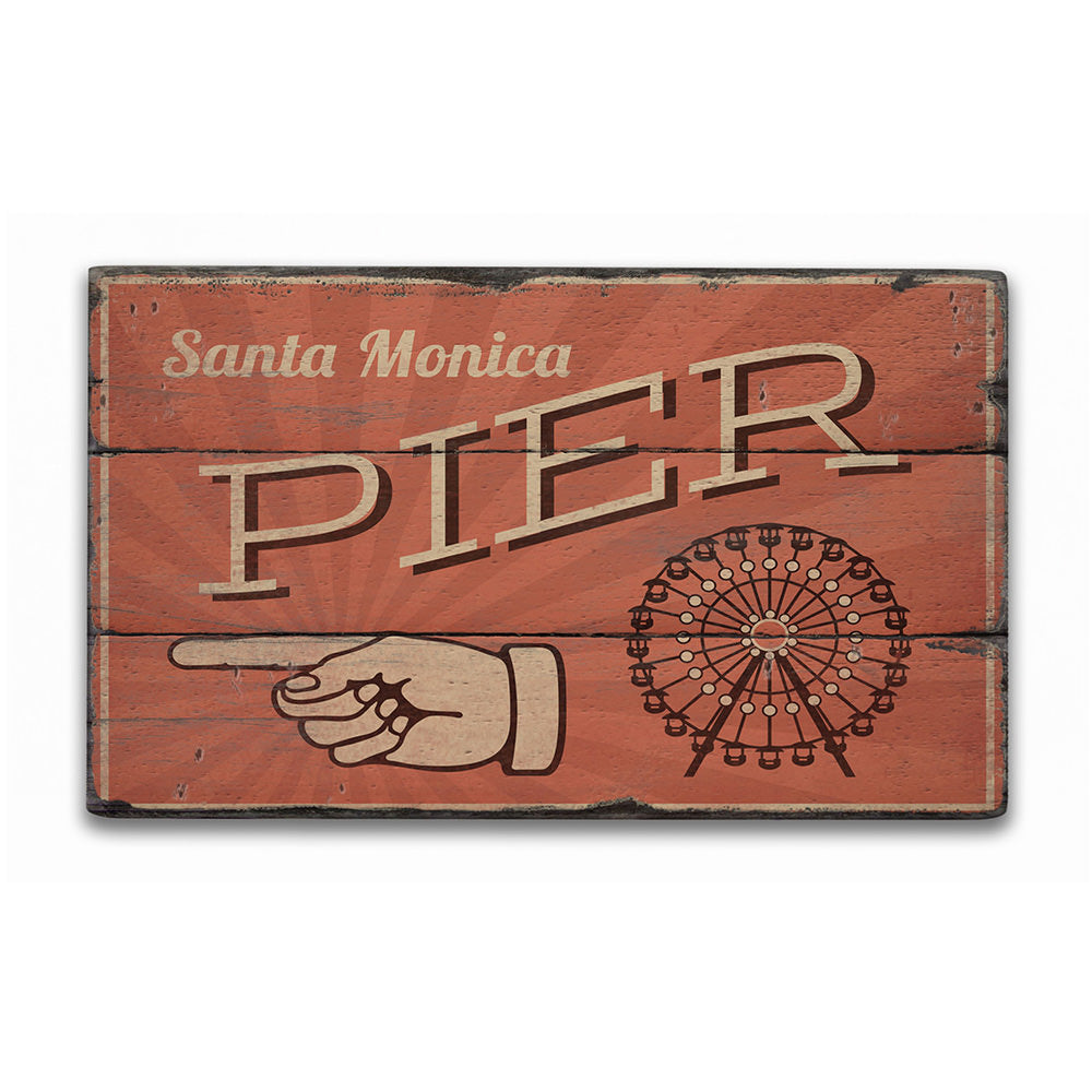 Santa Monica Pier Rustic Wood Sign