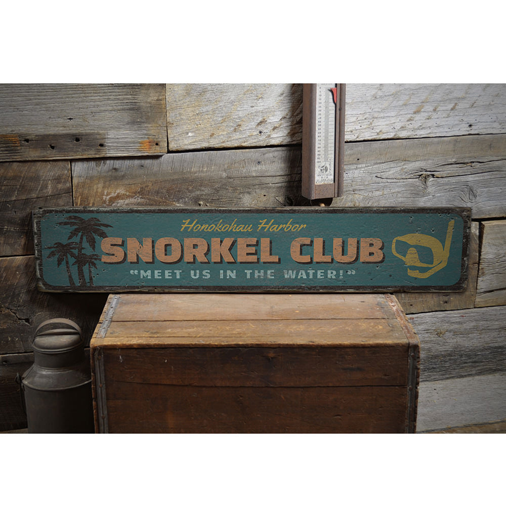 Snorkel Club Vintage Wood Sign