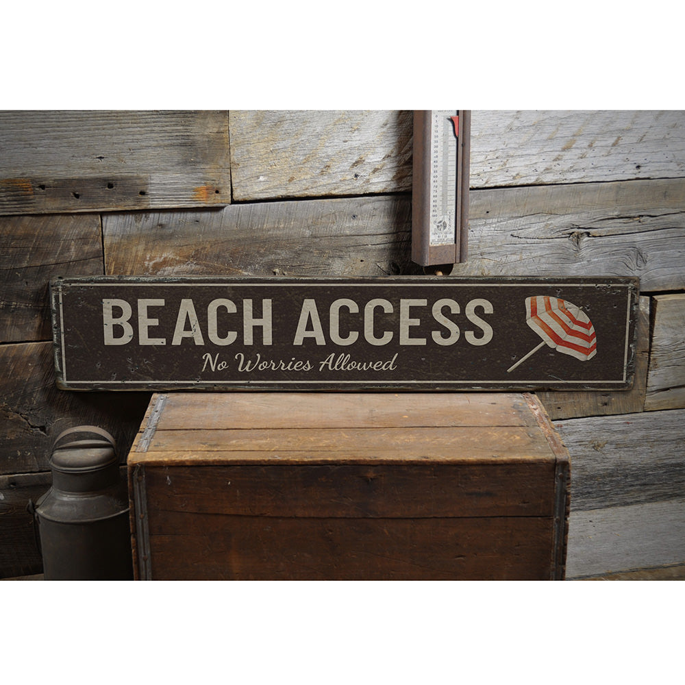 Beach Access Vintage Wood Sign