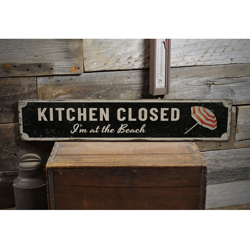 Kitchen Closed Beach Vintage Wood Sign