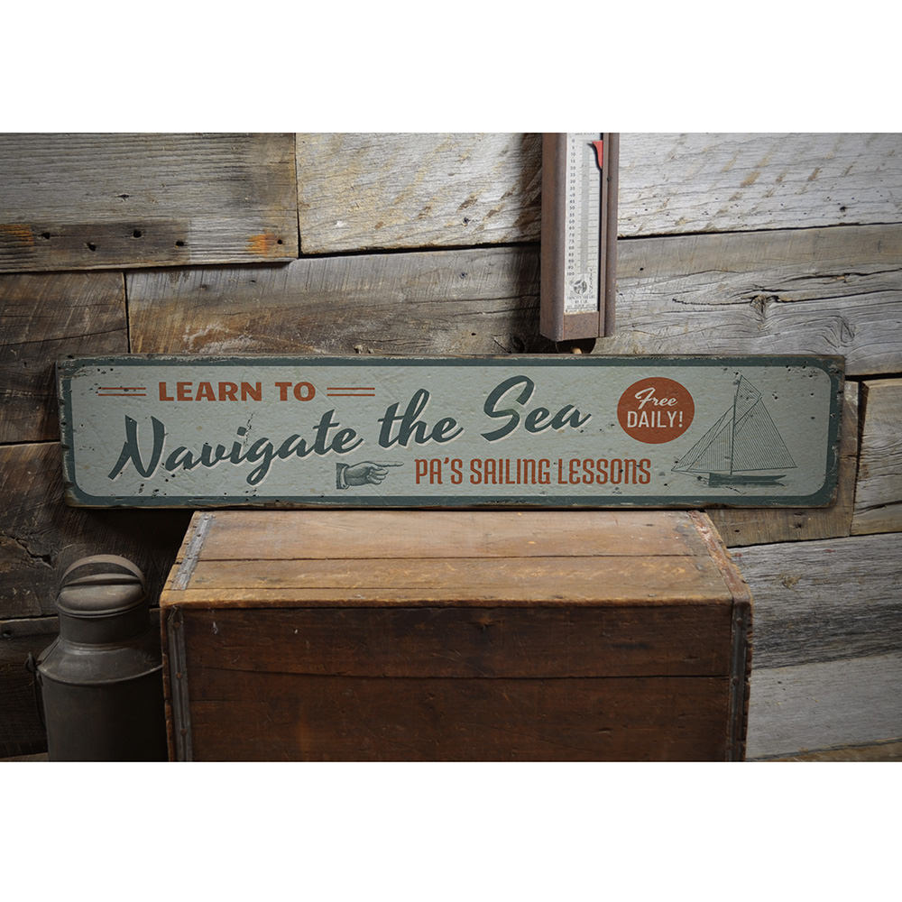 Navigate the Sea Vintage Wood Sign