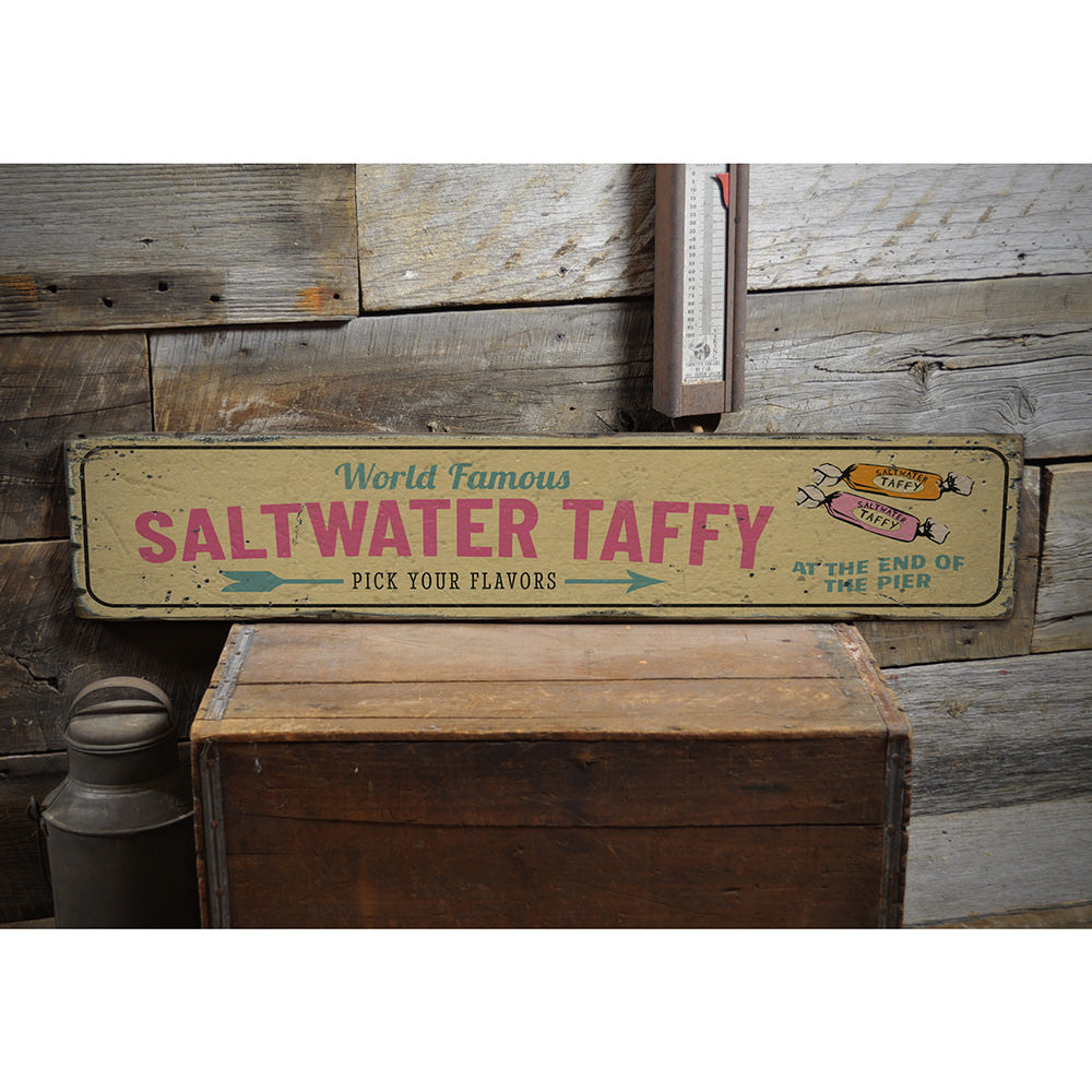 World Famous Saltwater Taffy Vintage Wood Sign