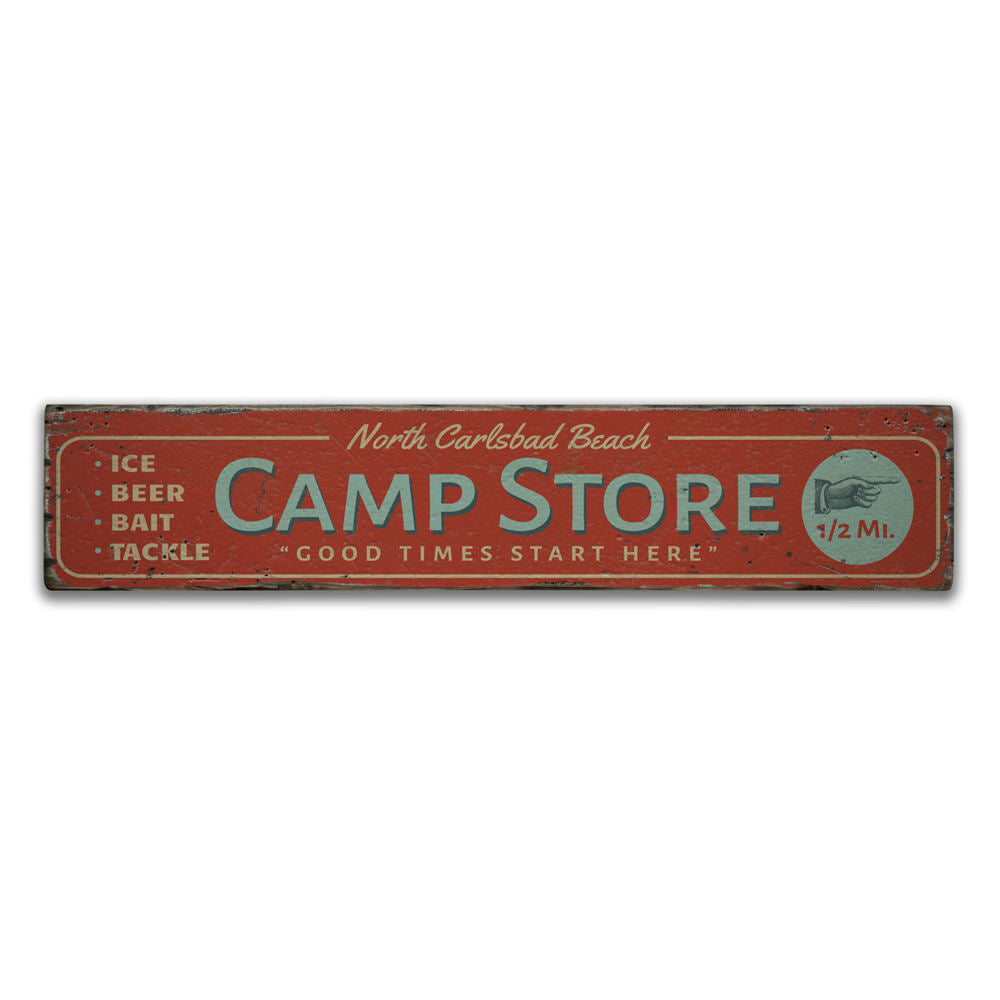 Beach Camp Store Vintage Wood Sign