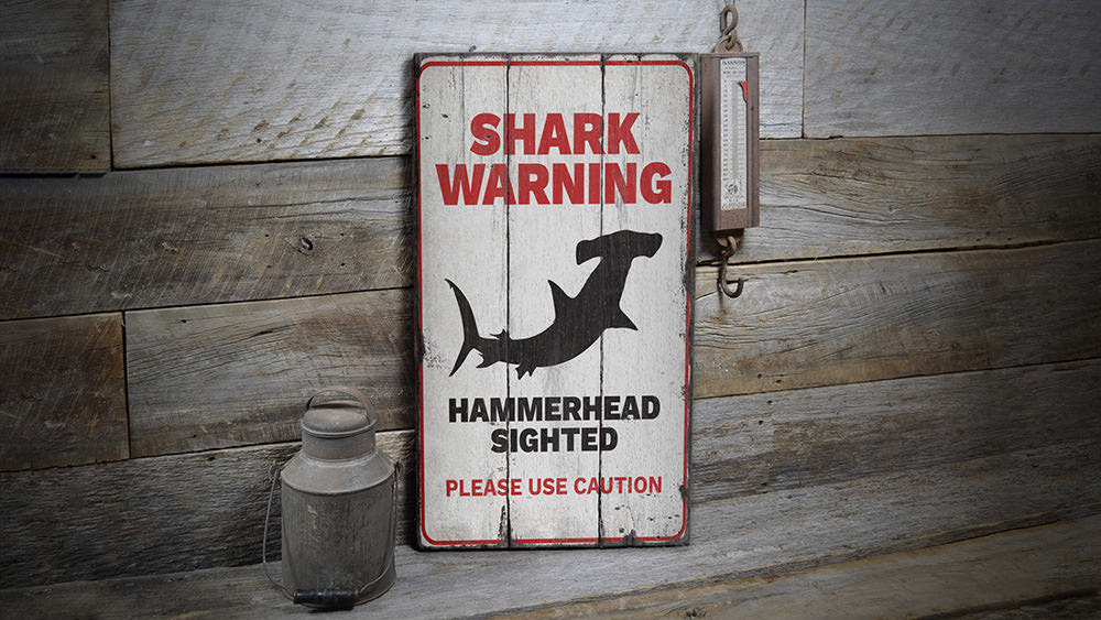 Shark Warning Caution Rustic Wood Sign