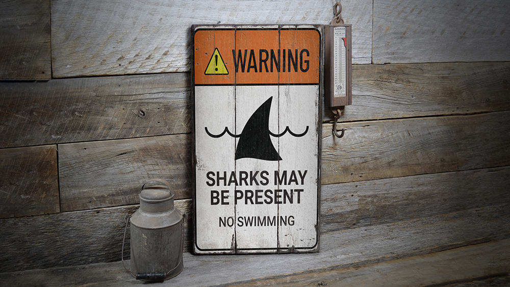 Warning Sharks Present Rustic Wood Sign