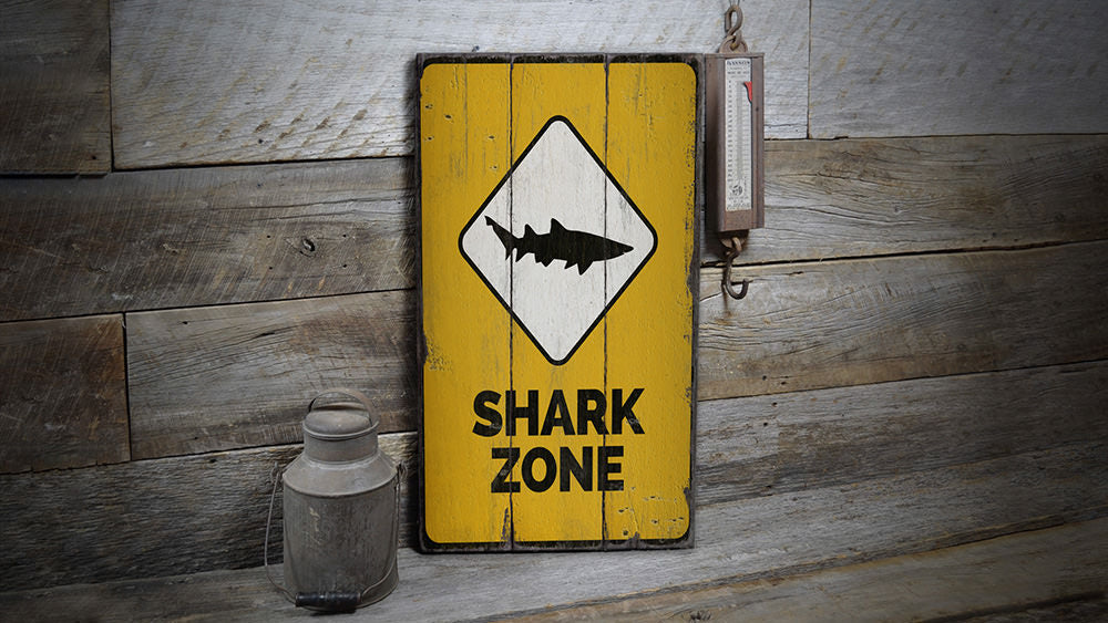 Shark Zone Rustic Wood Sign