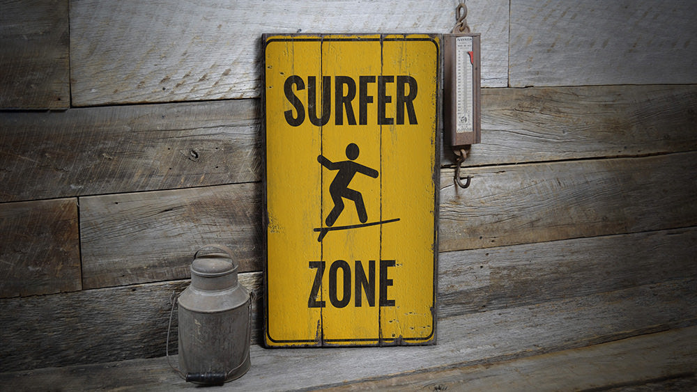 Surfer Zone Rustic Wood Sign