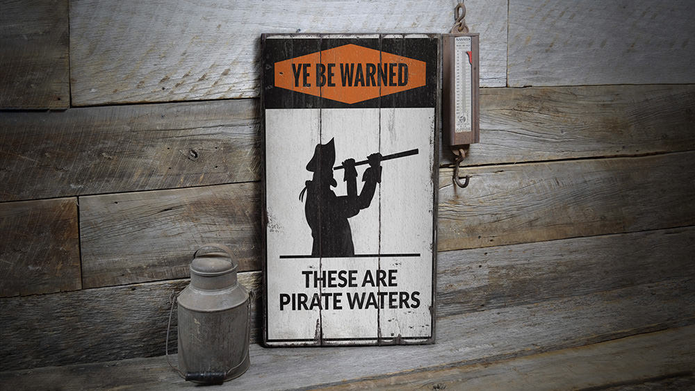 Pirate Rustic Wood Sign