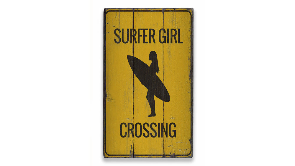 Surfer Girl Crossing Rustic Wood Sign