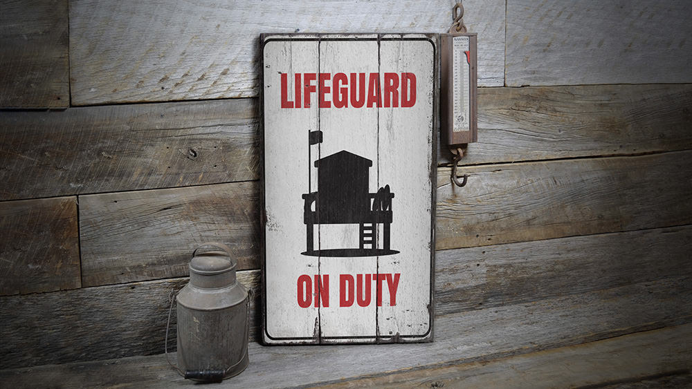 Lifeguard on Duty Rustic Wood Sign