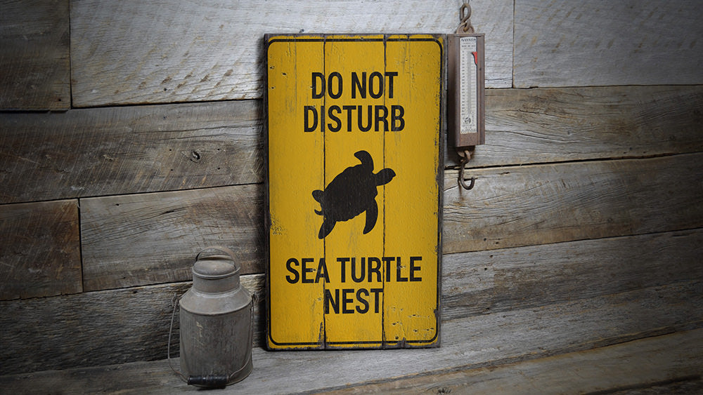 Sea Turtle Nest Rustic Wood Sign