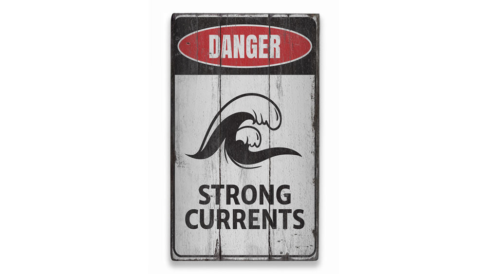 Strong Currents Danger Rustic Wood Sign