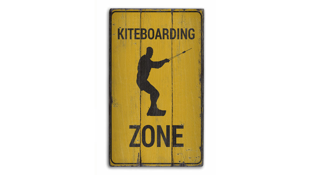 Kiteboarding Zone Rustic Wood Sign