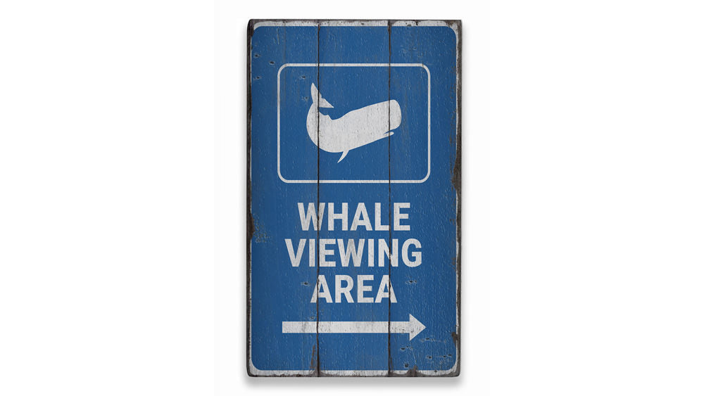 Whale Viewing Area Rustic Wood Sign
