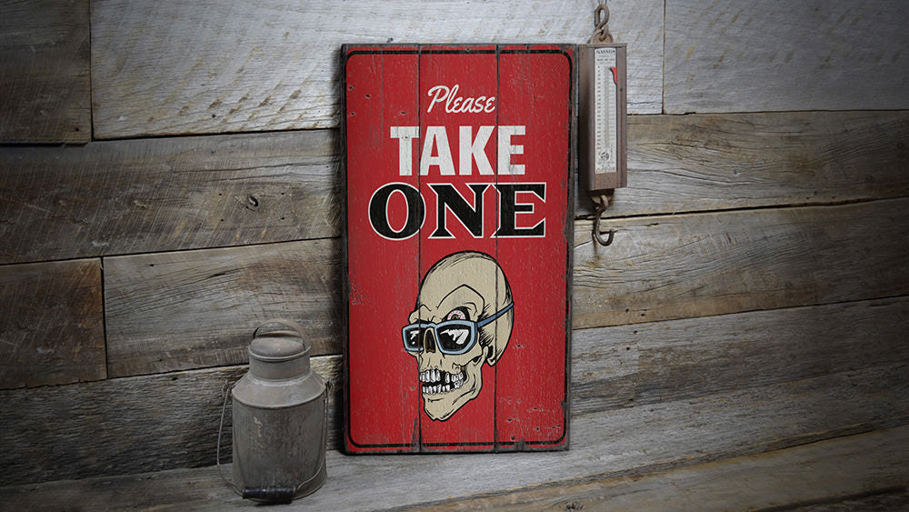 Please Take One Halloween Rustic Wood Sign