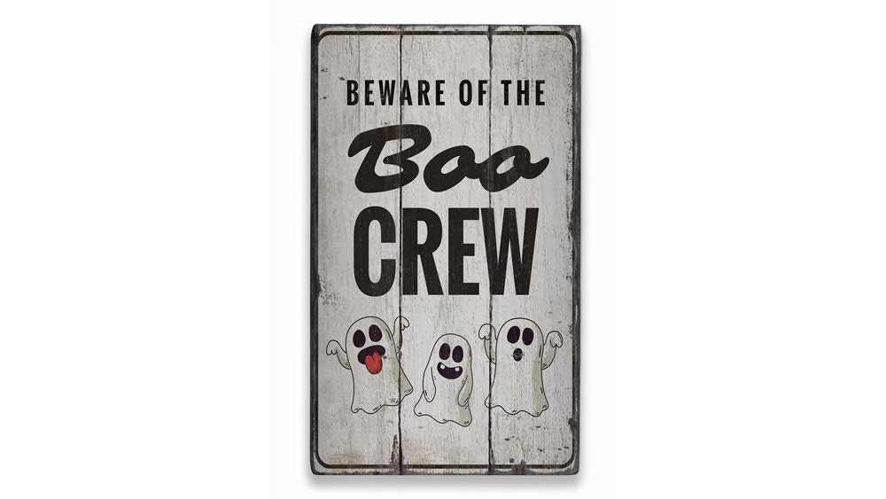 Boo Crew Rustic Wood Sign