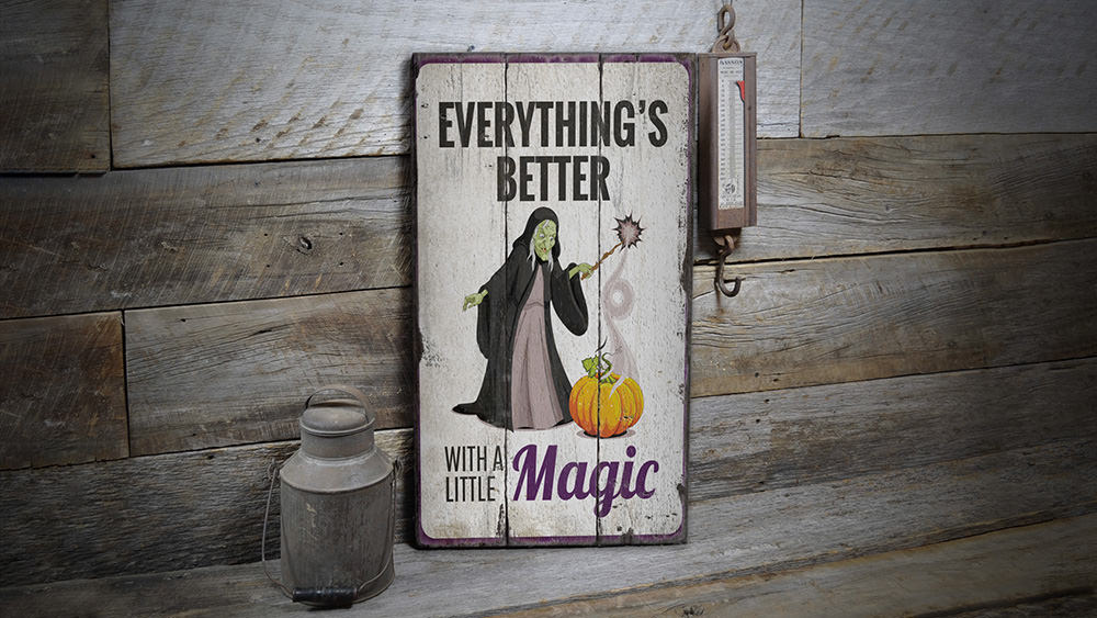 Witch and Pumpkin Rustic Wood Sign