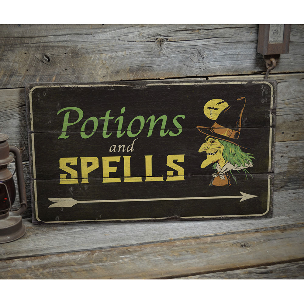 Potions and Spells Rustic Wood Sign