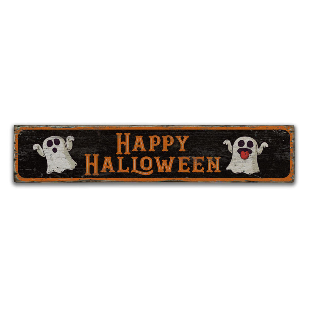 Happy Halloween Ghost Vintage Wood Sign