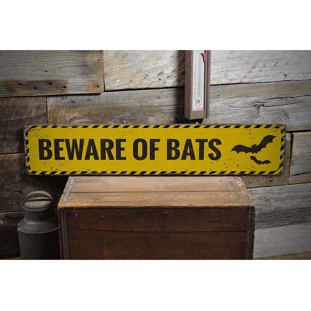 Beware of Bats Vintage Wood Sign