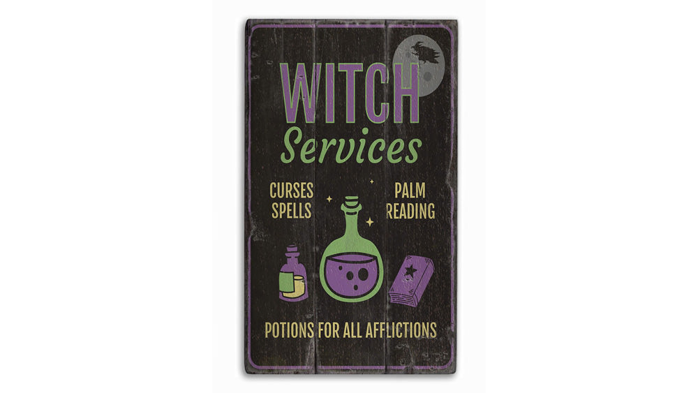 Witch Services Rustic Wood Sign